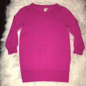 NWOT XS J. CREW Fuchsia Light Merino Wool Sweater